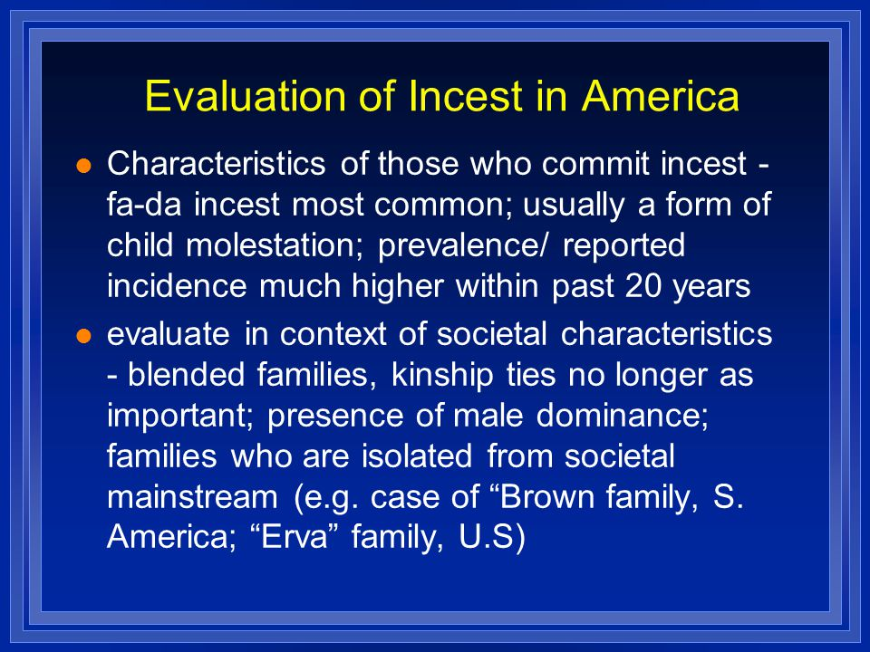 Evaluation of Incest in America