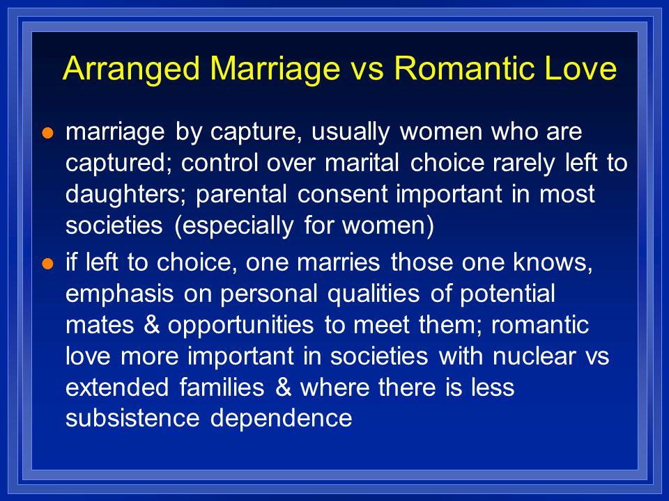 Arranged Marriage vs Romantic Love