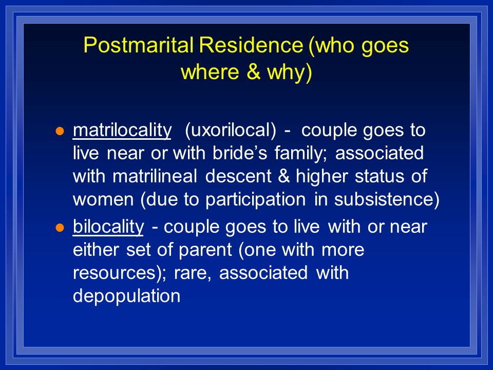 Postmarital Residence (who goes where & why)