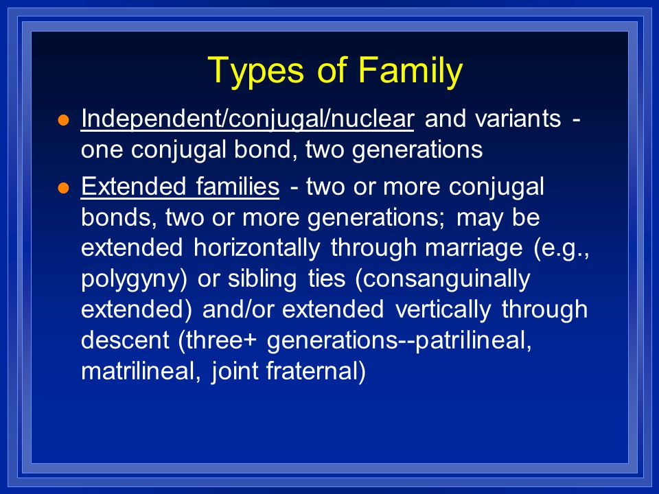 Types of Family Independent/conjugal/nuclear and variants - one conjugal bond, two generations.
