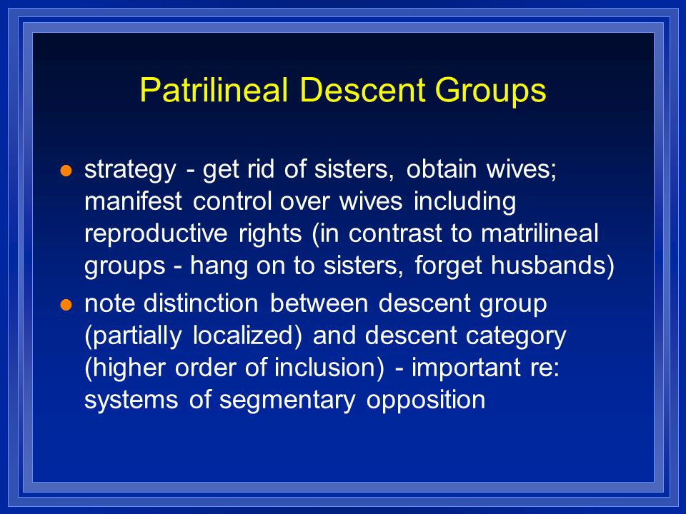 Patrilineal Descent Groups