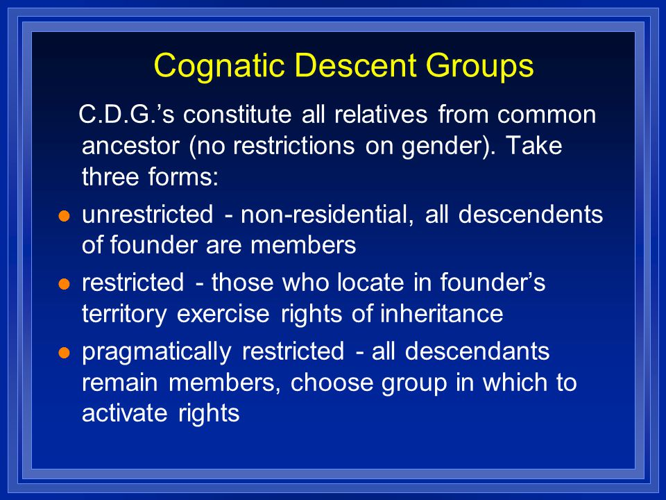 Cognatic Descent Groups
