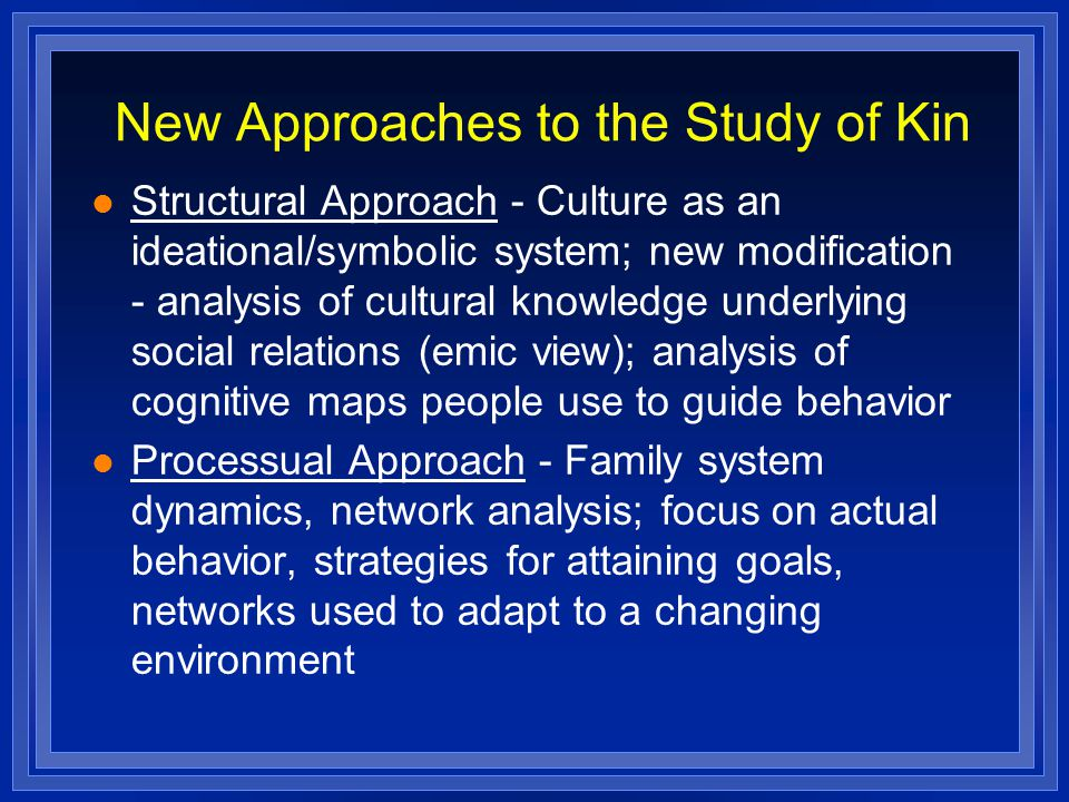 New Approaches to the Study of Kin