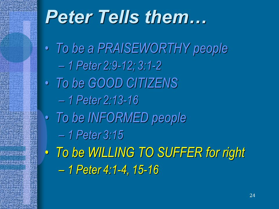 Peter Tells them… To be a PRAISEWORTHY people To be GOOD CITIZENS