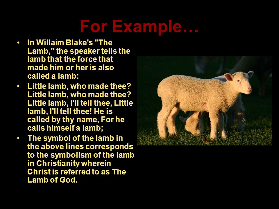 For Example… In Willaim Blake s The Lamb, the speaker tells the lamb that the force that made him or her is also called a lamb:
