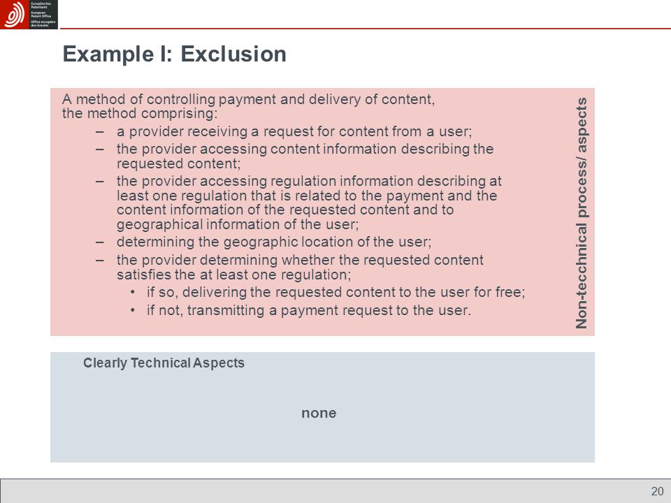 Example I: Exclusion A method of controlling payment and delivery of content, the method comprising: