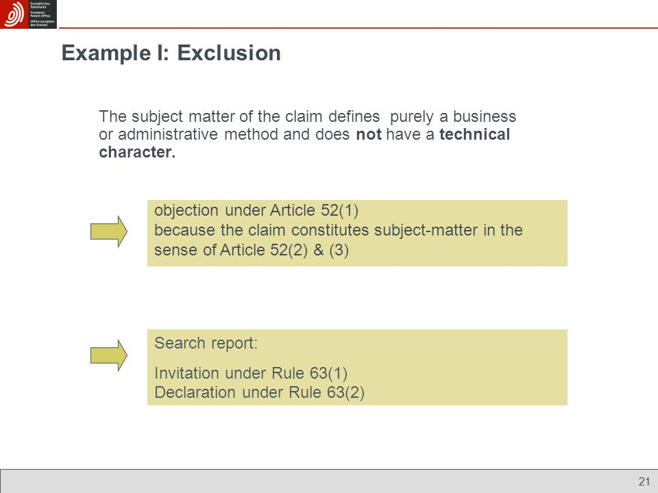 Example I: Exclusion The subject matter of the claim defines purely a business or administrative method and does not have a technical character.