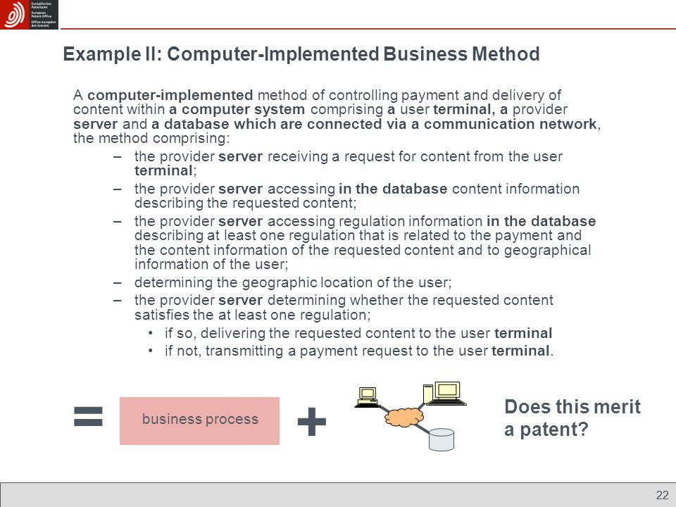 Example II: Computer-Implemented Business Method