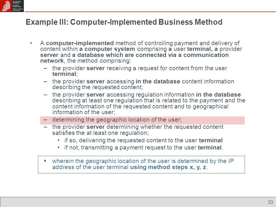 Example III: Computer-Implemented Business Method