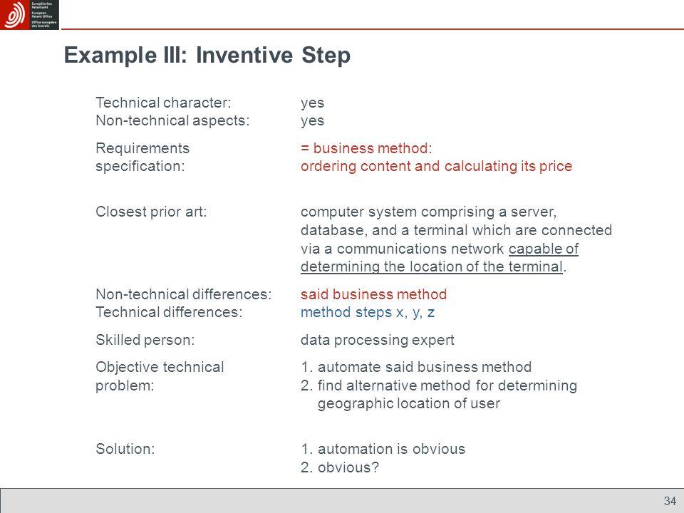Example III: Inventive Step