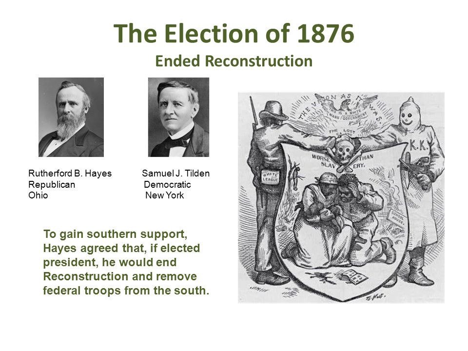 The Election of 1876 Ended Reconstruction