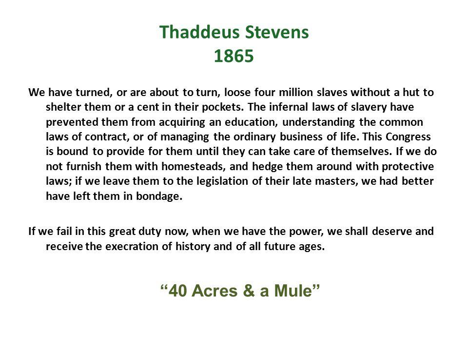 Thaddeus Stevens 1865 40 Acres & a Mule