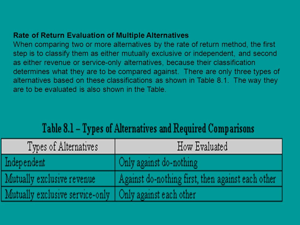 Rate of Return Evaluation of Multiple Alternatives