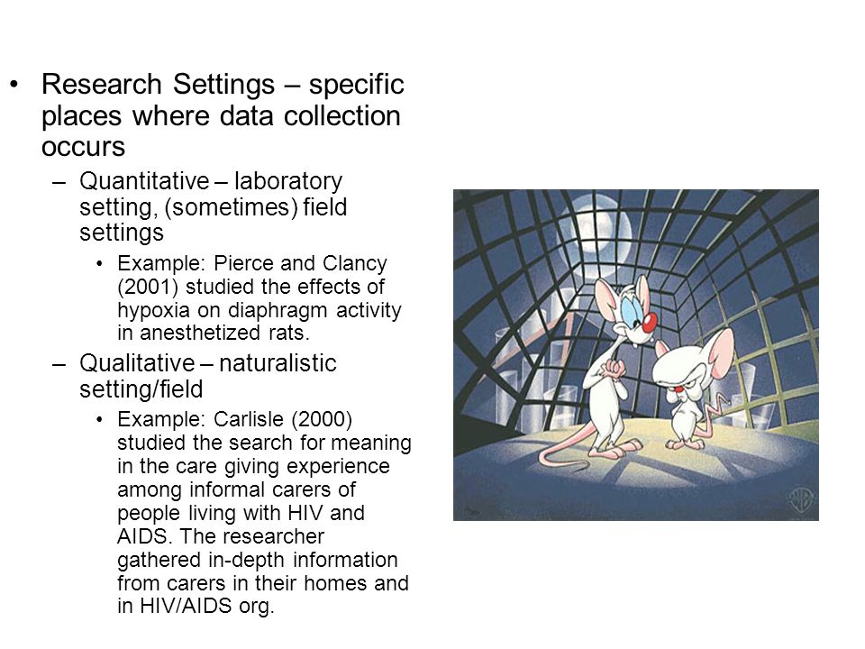 Research Settings – specific places where data collection occurs