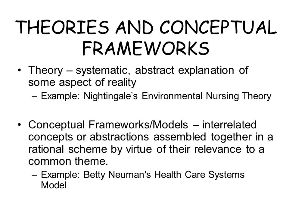 THEORIES AND CONCEPTUAL FRAMEWORKS