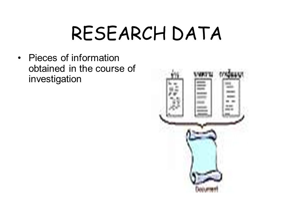 RESEARCH DATA Pieces of information obtained in the course of investigation