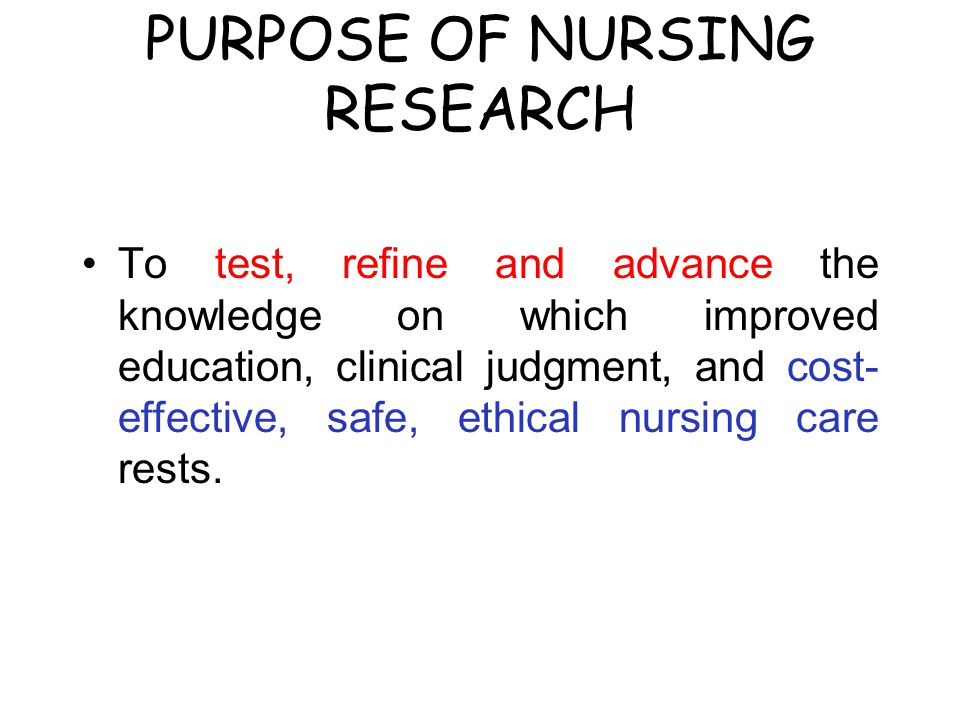 PURPOSE OF NURSING RESEARCH