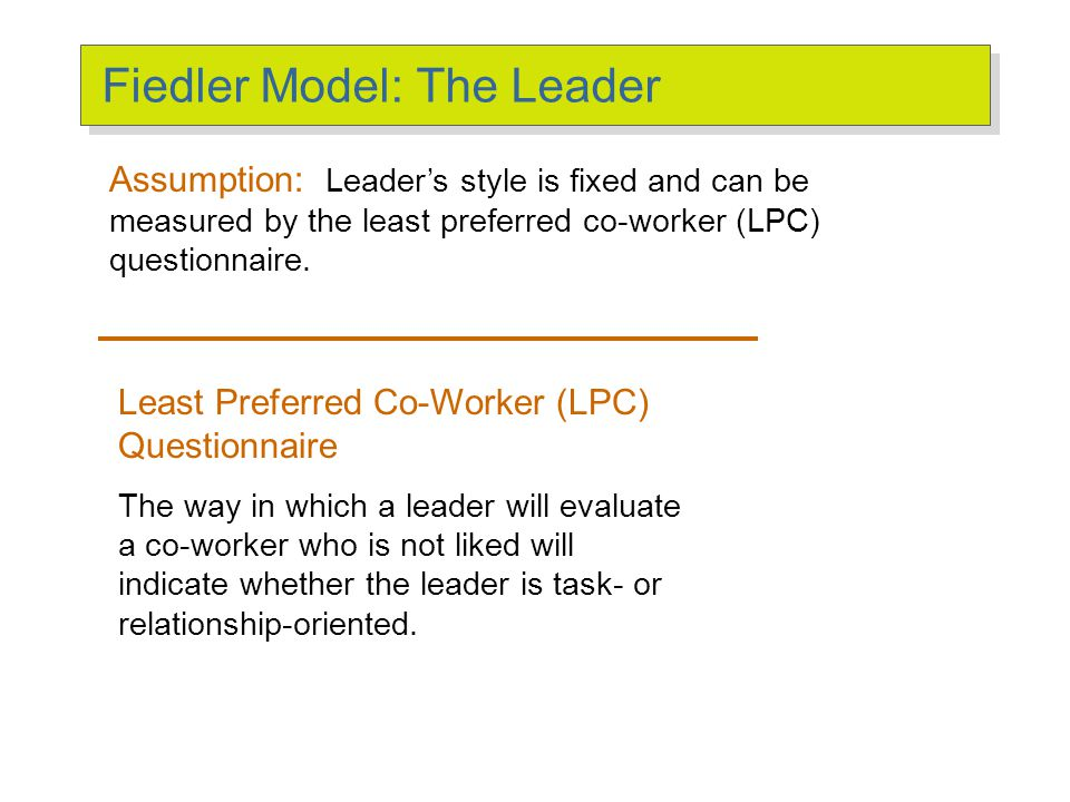 Fiedler Model: Defining the Situation