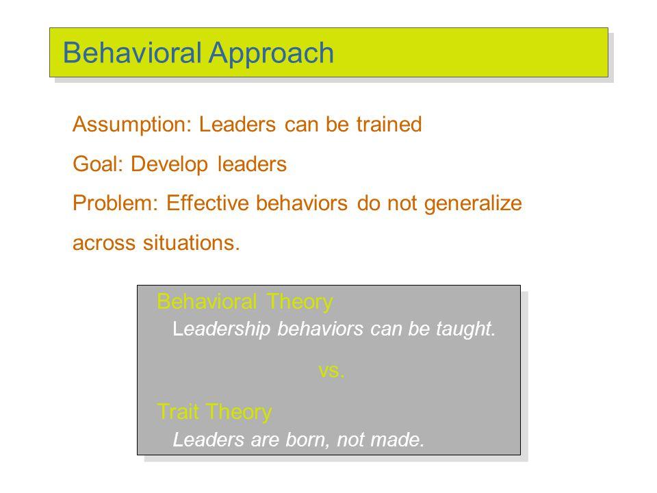 Behavioral Theories Behavioral Theories of Leadership