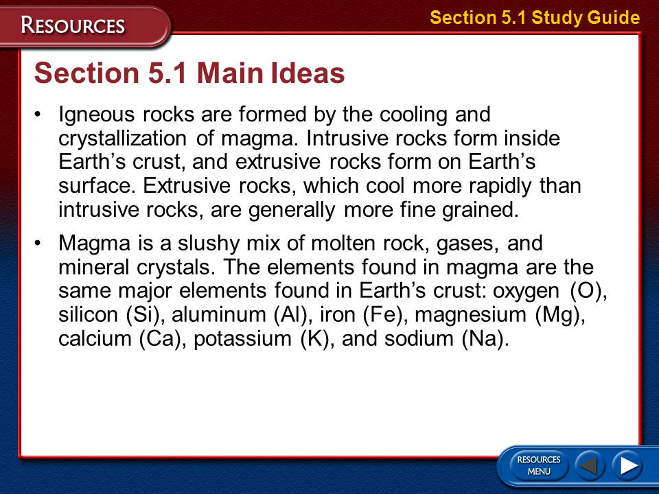 Section 5.1 Study Guide Section 5.1 Main Ideas.