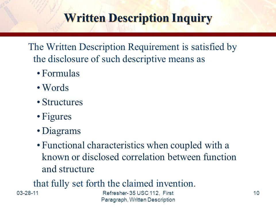 Written Description Inquiry