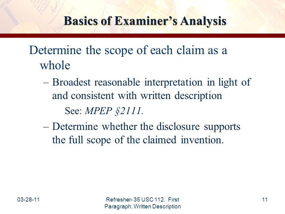 Basics of Examiner's Analysis