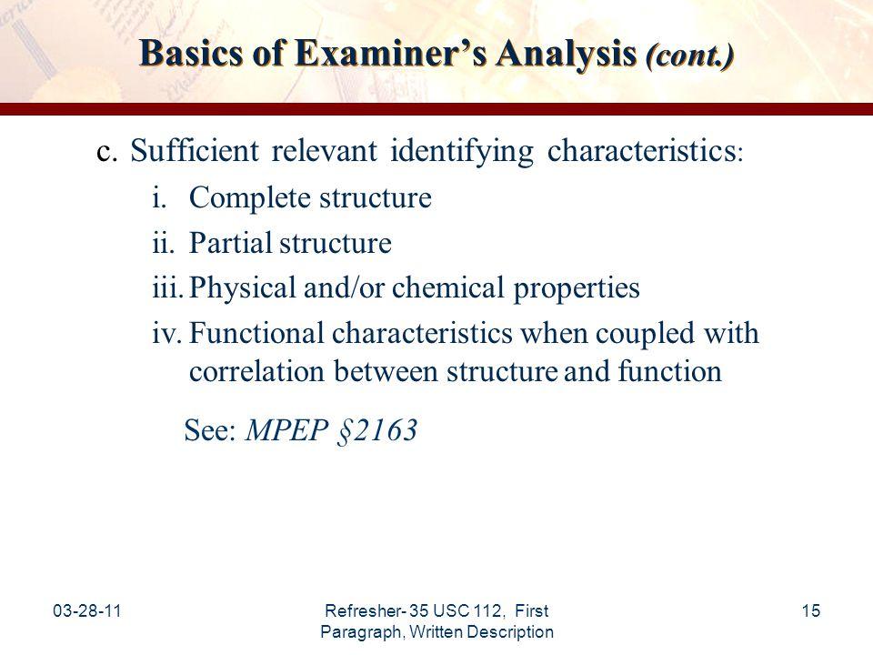 Basics of Examiner's Analysis (cont.)