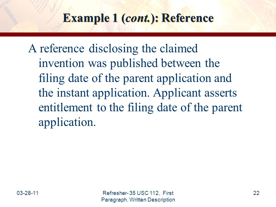 Example 1 (cont.): Reference