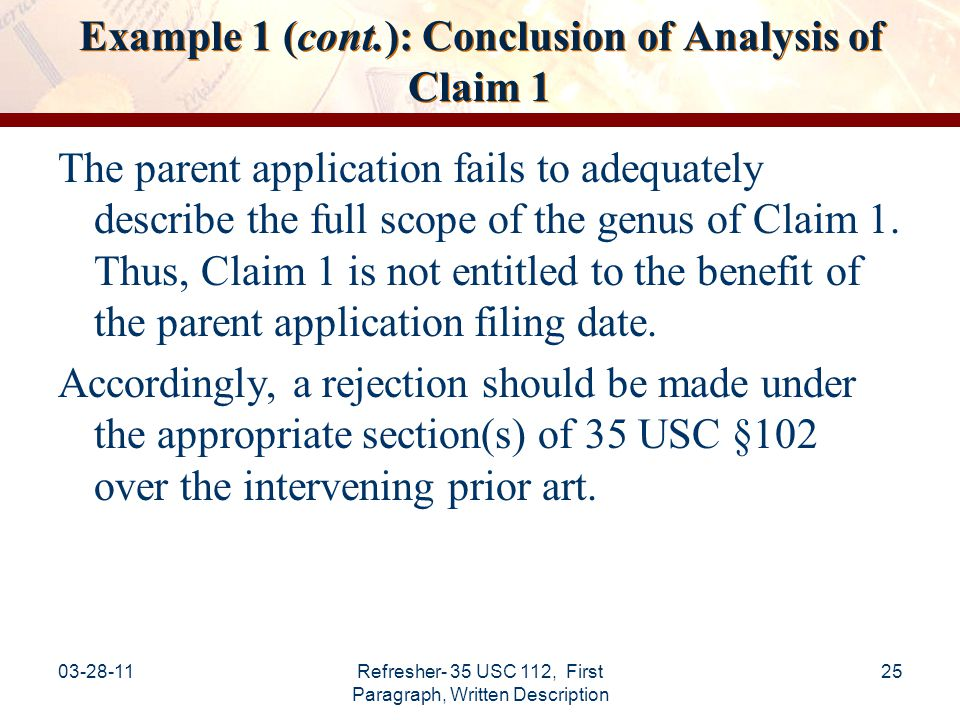 Example 1 (cont.): Conclusion of Analysis of Claim 1