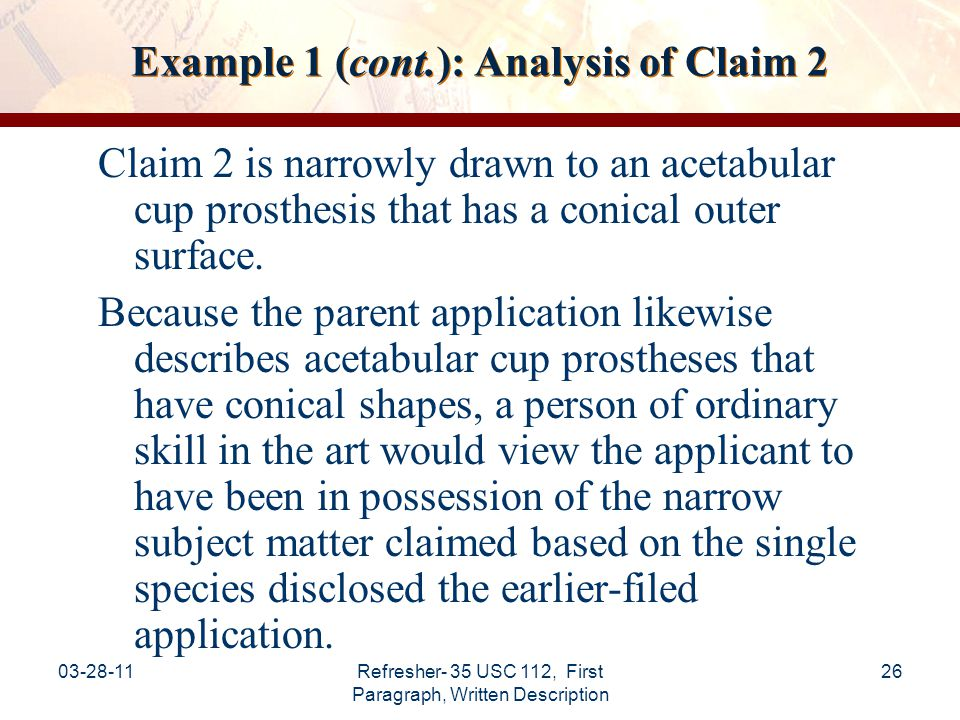 Example 1 (cont.): Analysis of Claim 2
