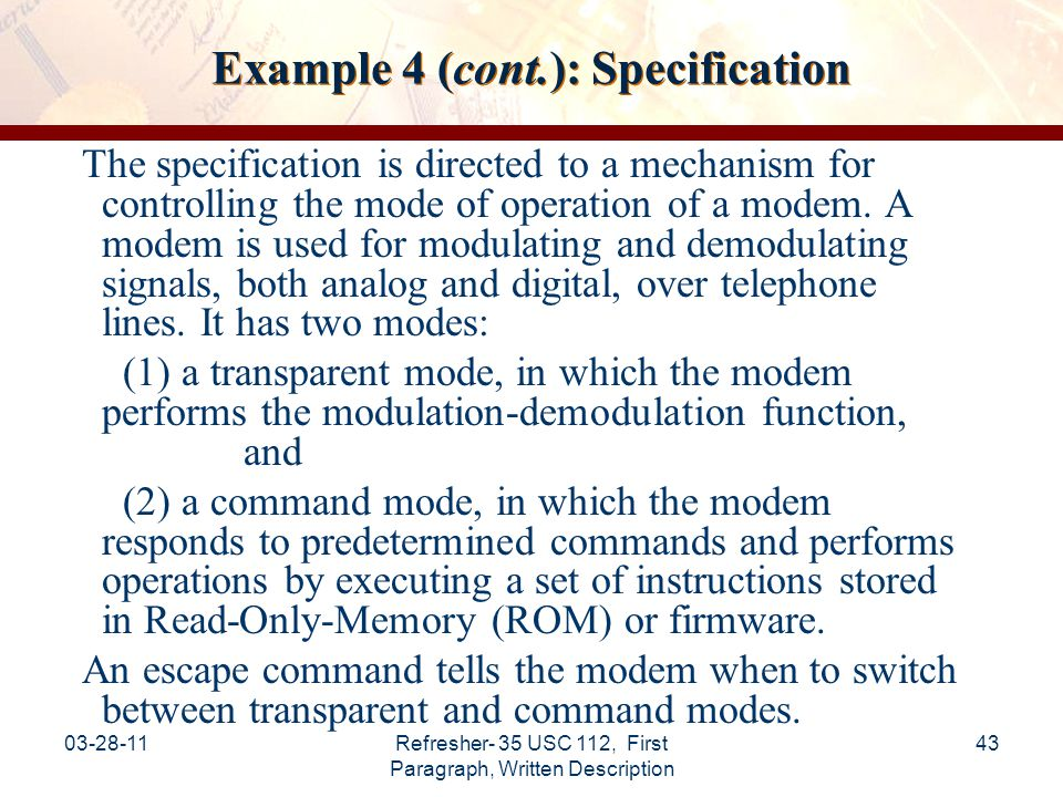 Example 4 (cont.): Specification
