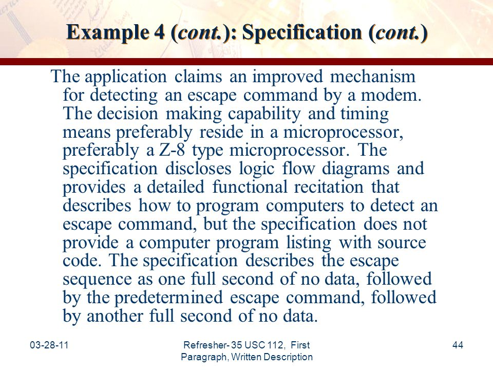 Example 4 (cont.): Specification (cont.)