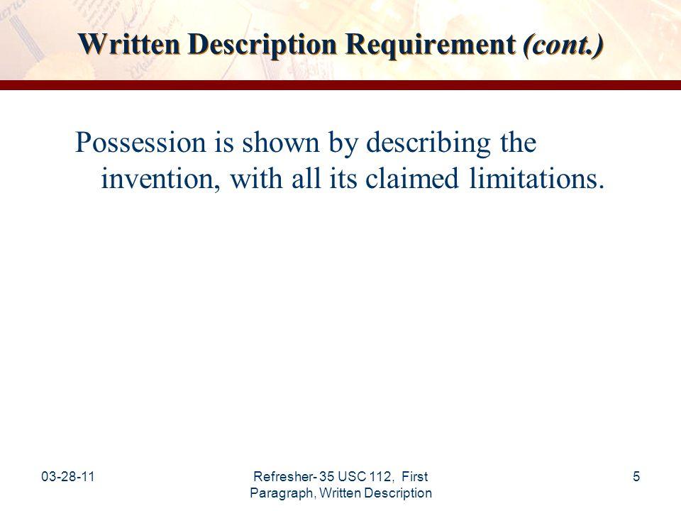 Written Description Requirement (cont.)