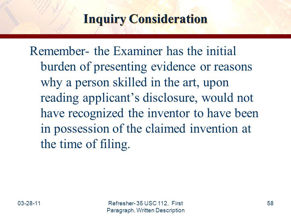 Inquiry Consideration