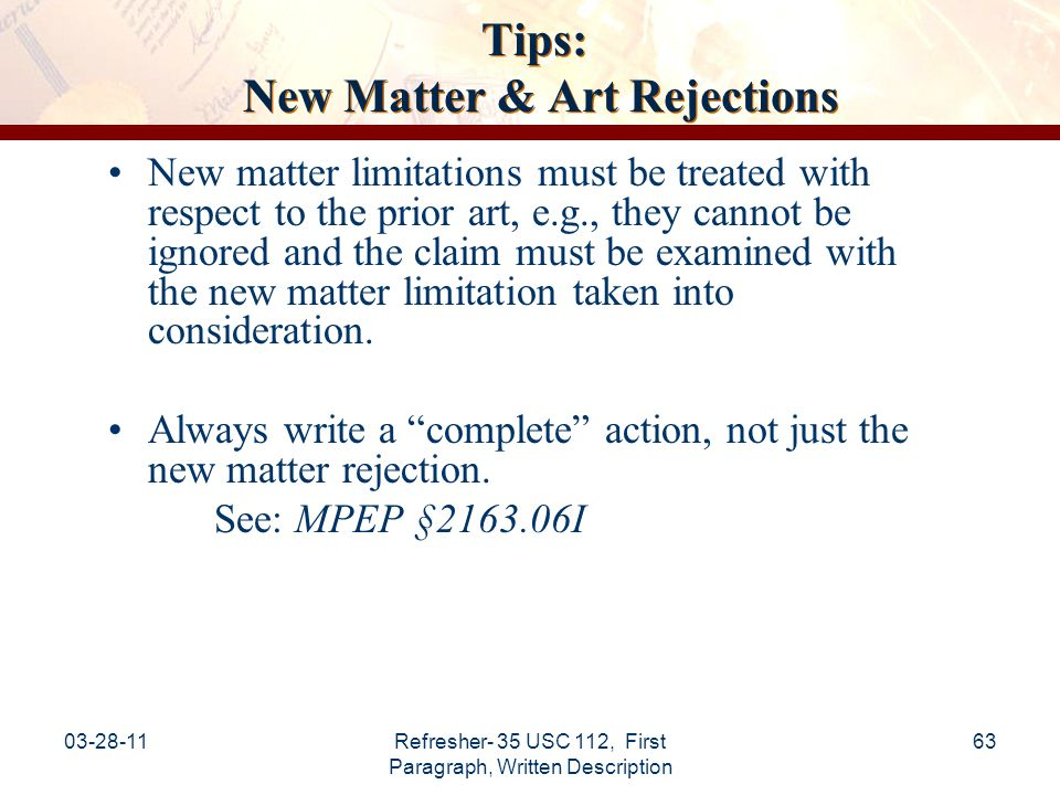 Tips: New Matter & Art Rejections