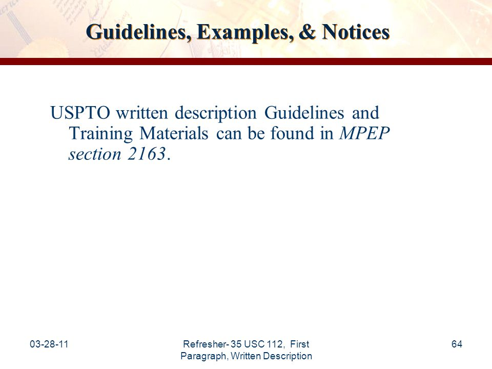 Guidelines, Examples, & Notices