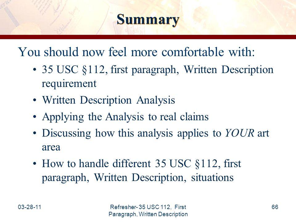 Refresher- 35 USC 112, First Paragraph, Written Description