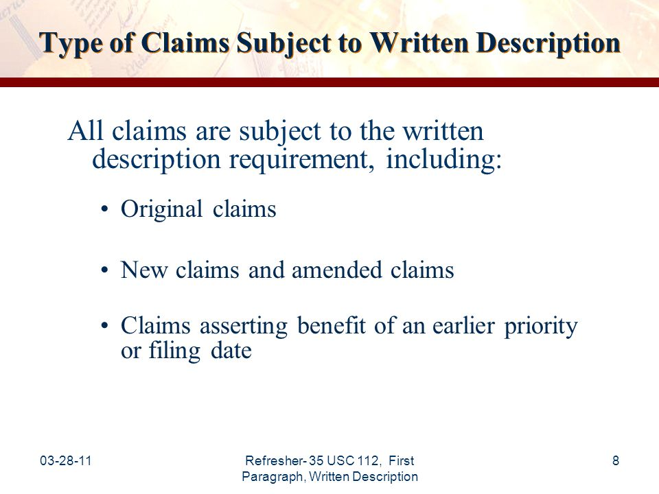 Type of Claims Subject to Written Description