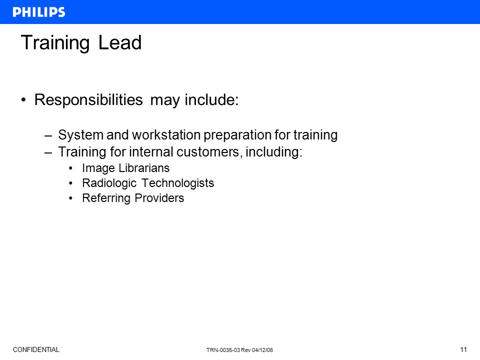 Training Lead Responsibilities may include: