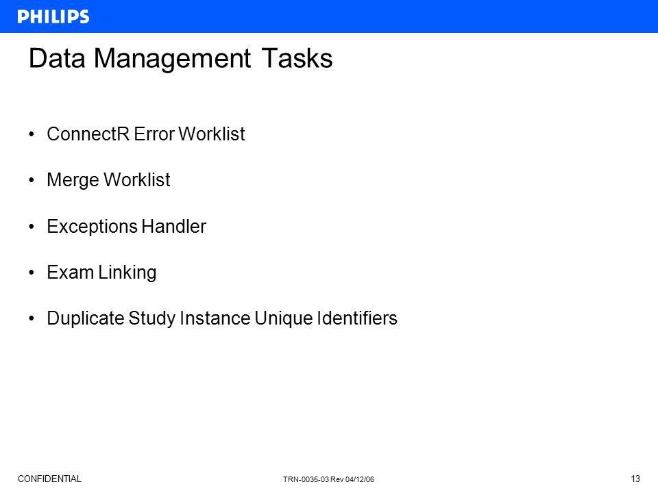 Data Management Tasks ConnectR Error Worklist Merge Worklist