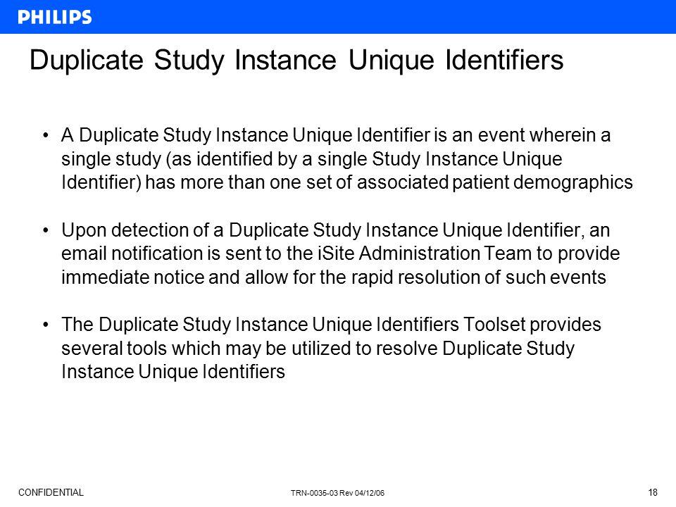 Duplicate Study Instance Unique Identifiers