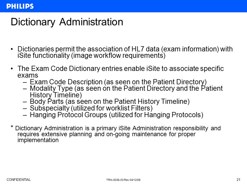 Dictionary Administration
