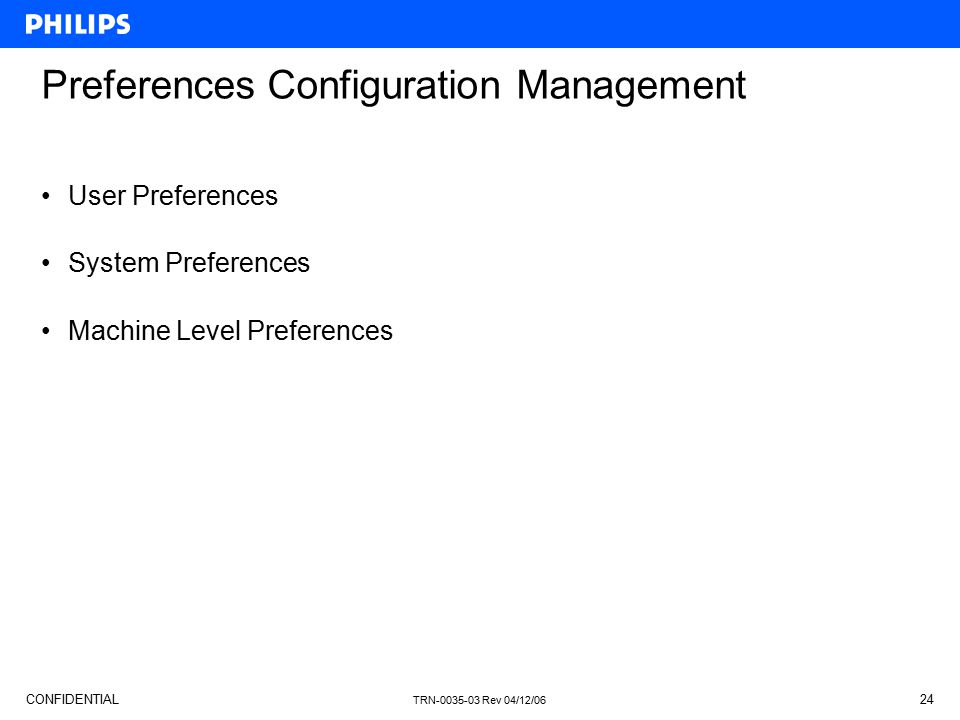 Preferences Configuration Management