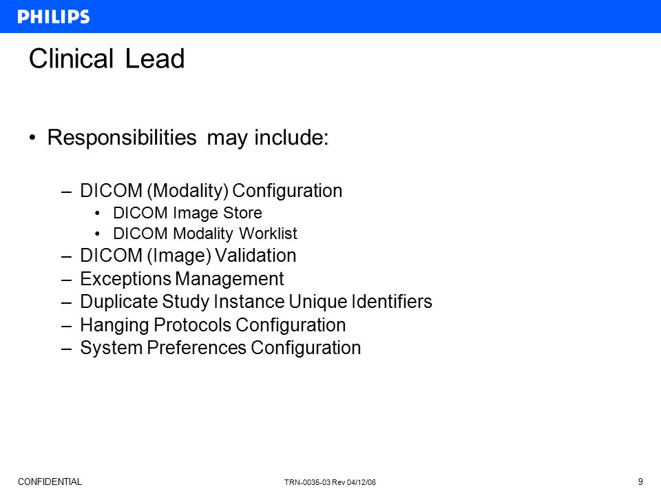 Clinical Lead Responsibilities may include: