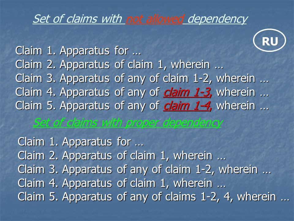 Set of claims with not allowed dependency