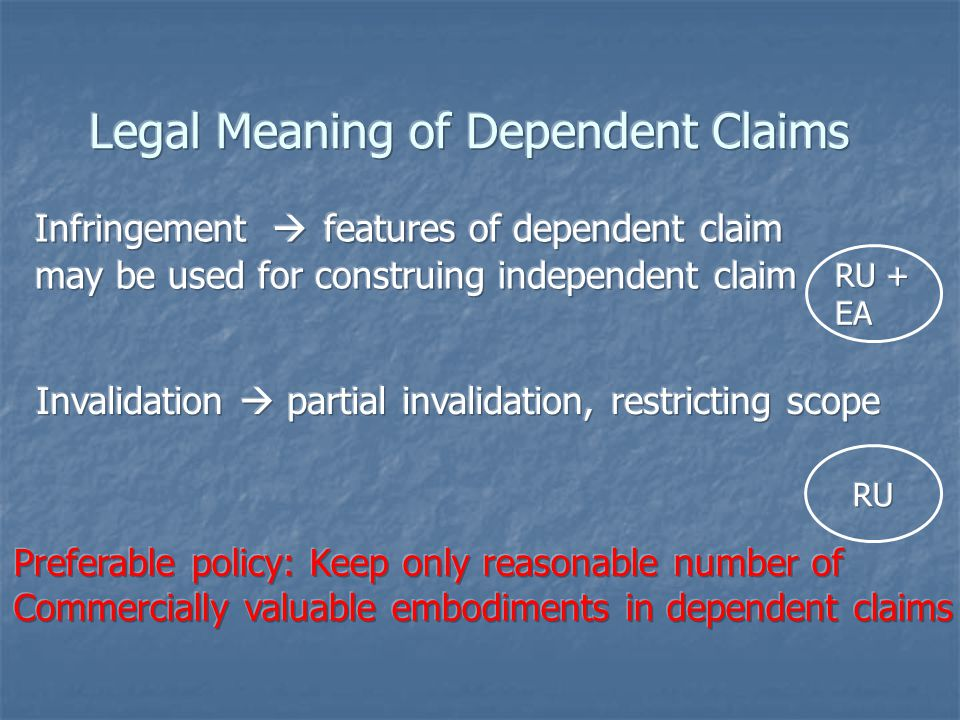 Legal Meaning of Dependent Claims