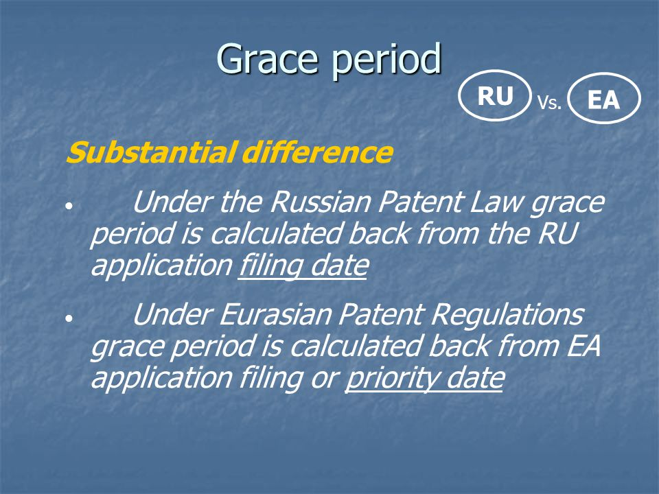 Grace period Substantial difference