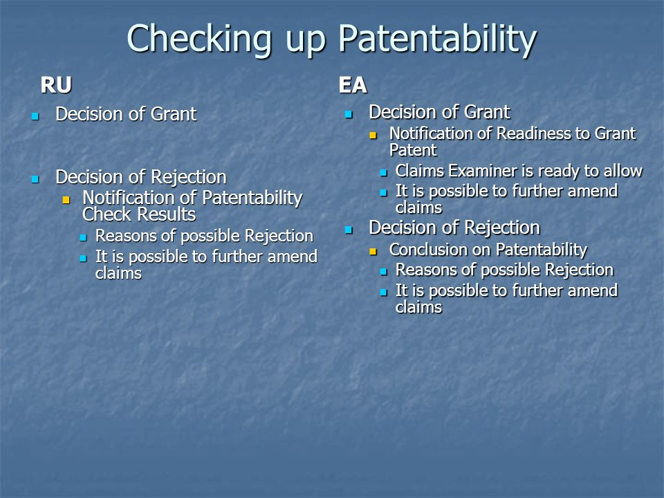 Checking up Patentability
