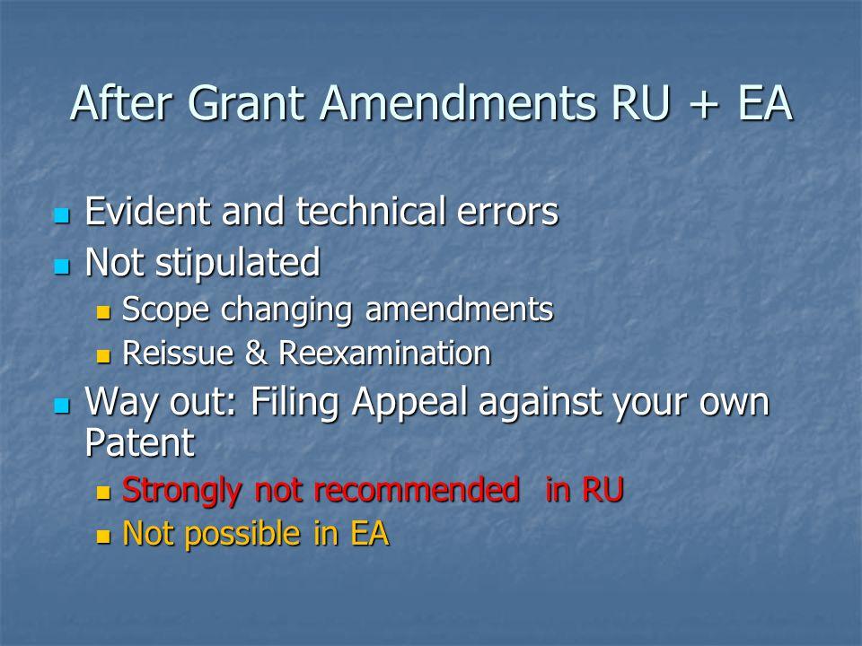 After Grant Amendments RU + EA