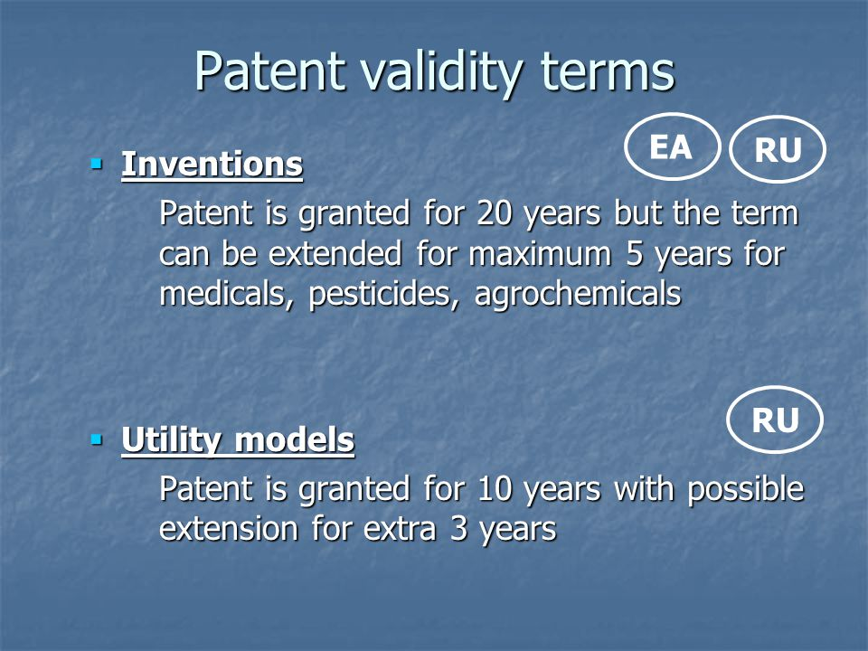 Patent validity terms EA RU Inventions